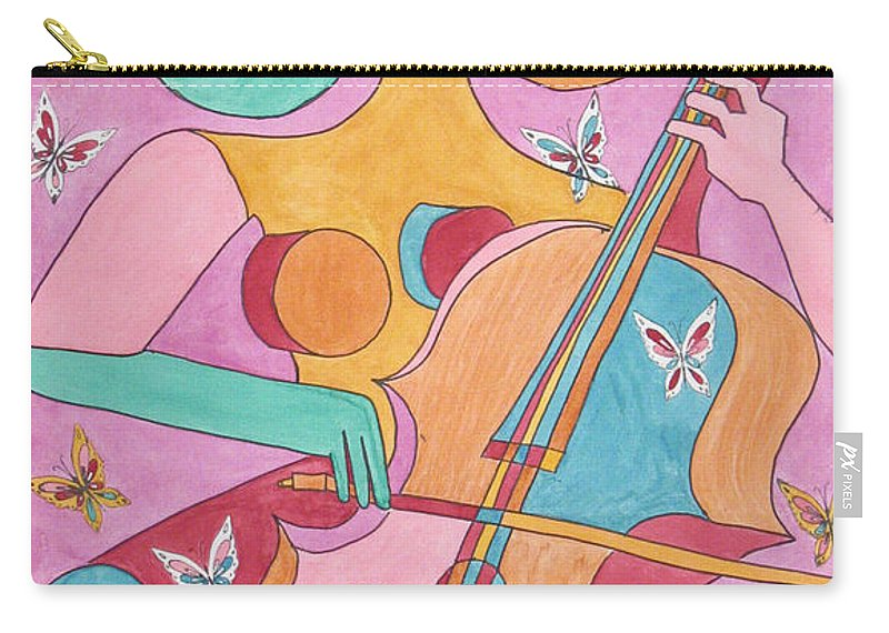 Music Carry-all Pouch featuring the painting Cellist by Barb Meade