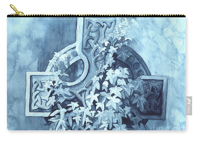 Celtic Cross Carry-all Pouch featuring the painting Celtic Cross Study by Lynn Quinn
