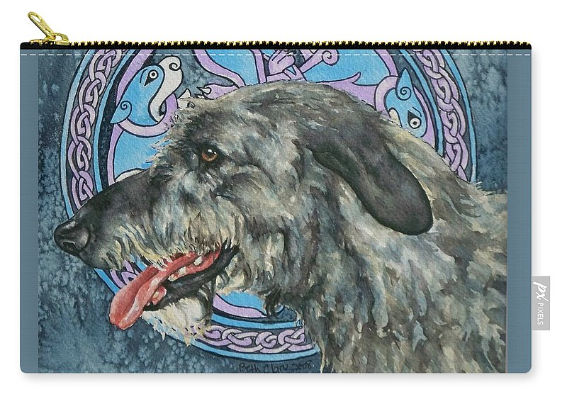 Celtic Carry-all Pouch featuring the painting Celtic Hound by Beth Clark-McDonal