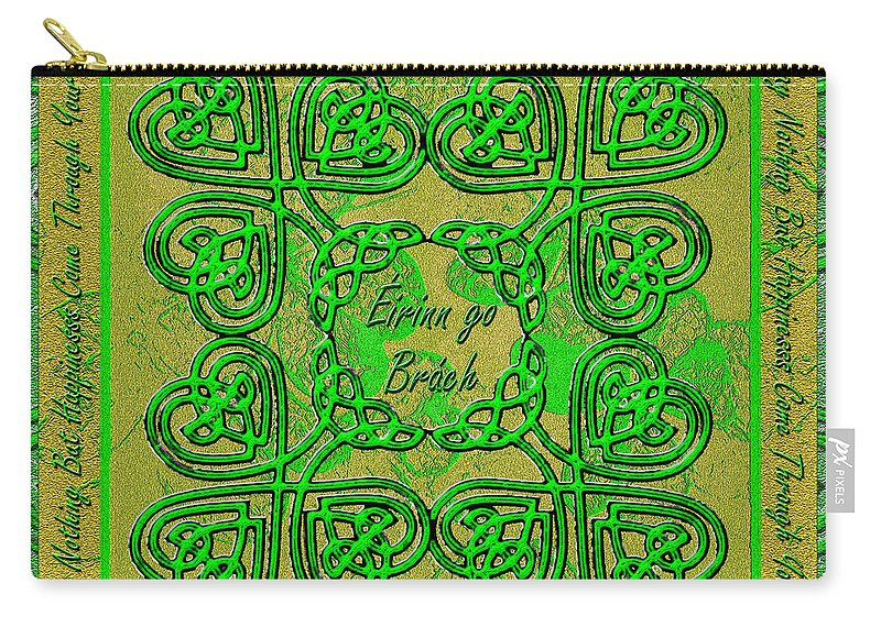 Celtic Carry-all Pouch featuring the digital art Celtic Irish Clover Home Blessing by Michele Avanti