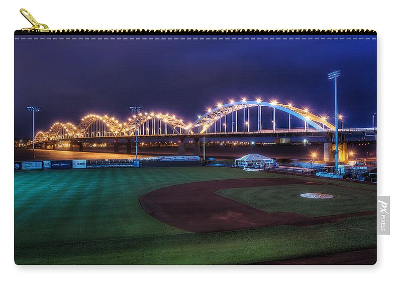 Bridge Carry-all Pouch featuring the photograph Centennial Bridge And Modern Woodmen Park by Scott Norris