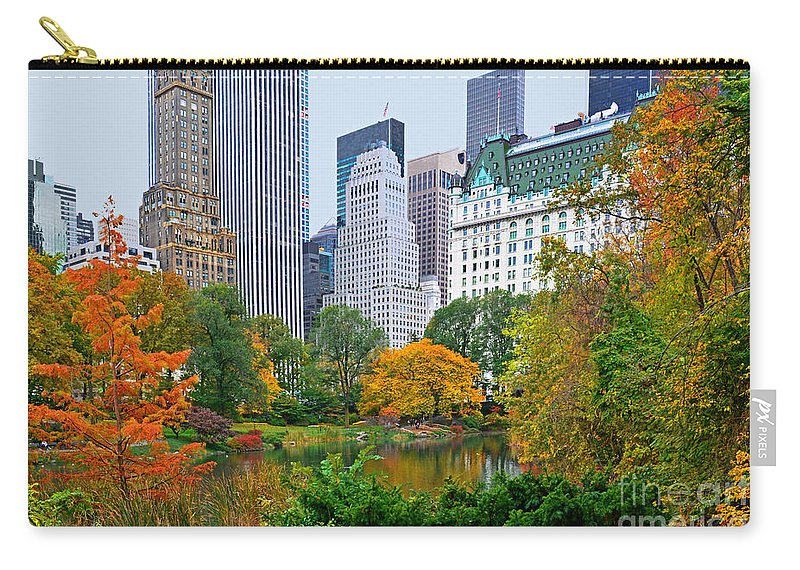Central Park Autumn Carry-all Pouch featuring the photograph Central Park And Fifth Autumn View by Regina Geoghan