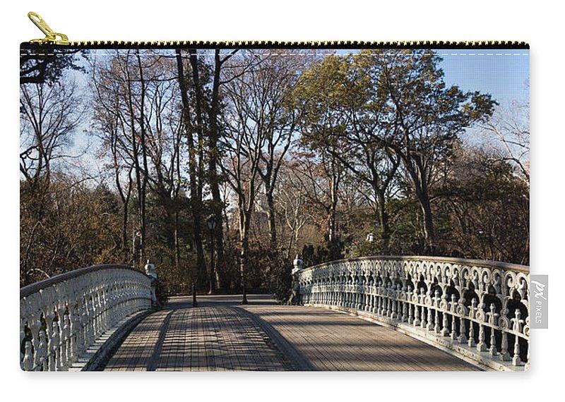 Central Park Carry-all Pouch featuring the photograph Central Park Bridge Shadows by Georgia Mizuleva