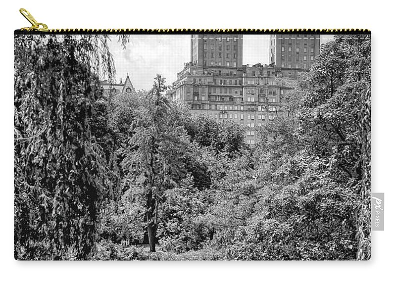 Central Park New York City Black White Boating Leisure Gray Grays Water Stone Cityscape Trees Photography Carry-all Pouch featuring the photograph Central Park by Paul Watkins