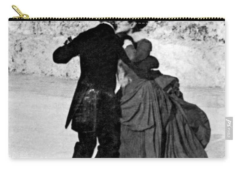 1890 Carry-all Pouch featuring the photograph Central Park Victorian Skaters by Underwood Archives
