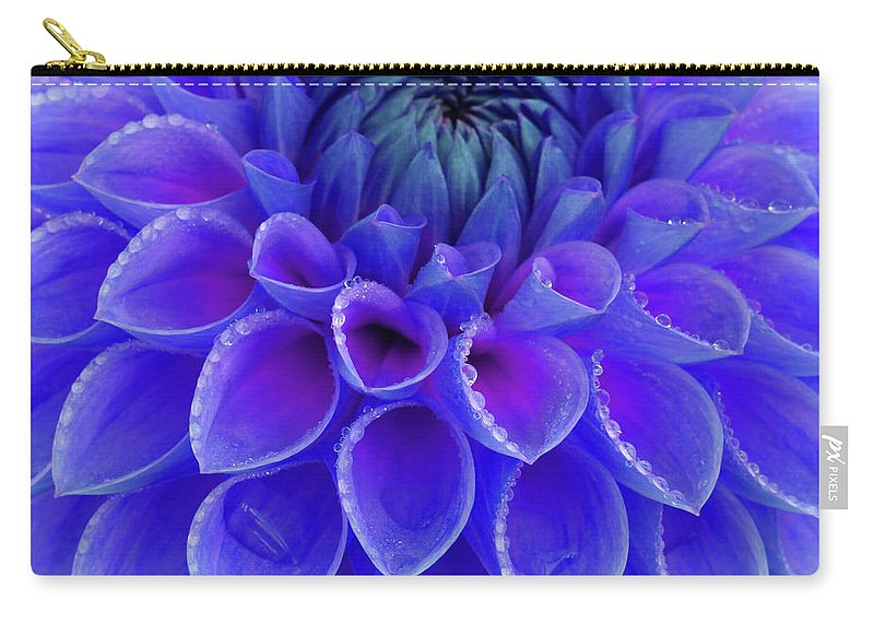 Haslemere Carry-all Pouch featuring the photograph Centre Of Blue And Purple Dahlia Flower by Rosemary Calvert