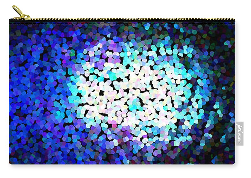 Abstract Carry-all Pouch featuring the digital art Cerulean Pixels by James Kramer