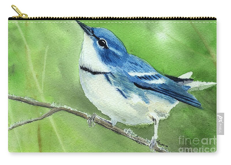 Bird Carry-all Pouch featuring the painting Cerulean Warbler by Lynn Quinn