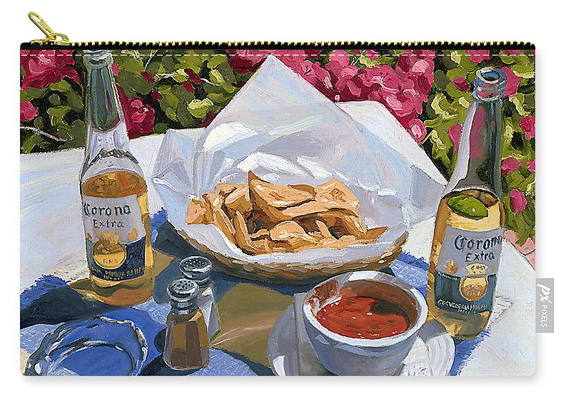 Beer Carry-all Pouch featuring the painting Cervezas Y Nachos - Coronas With Nachos by Steve Simon