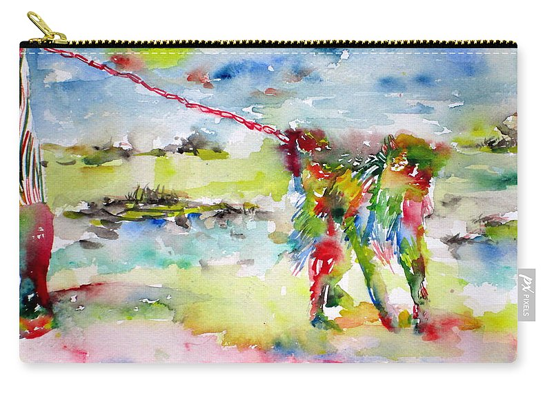 Monkey Carry-all Pouch featuring the painting Chained Monkey by Fabrizio Cassetta