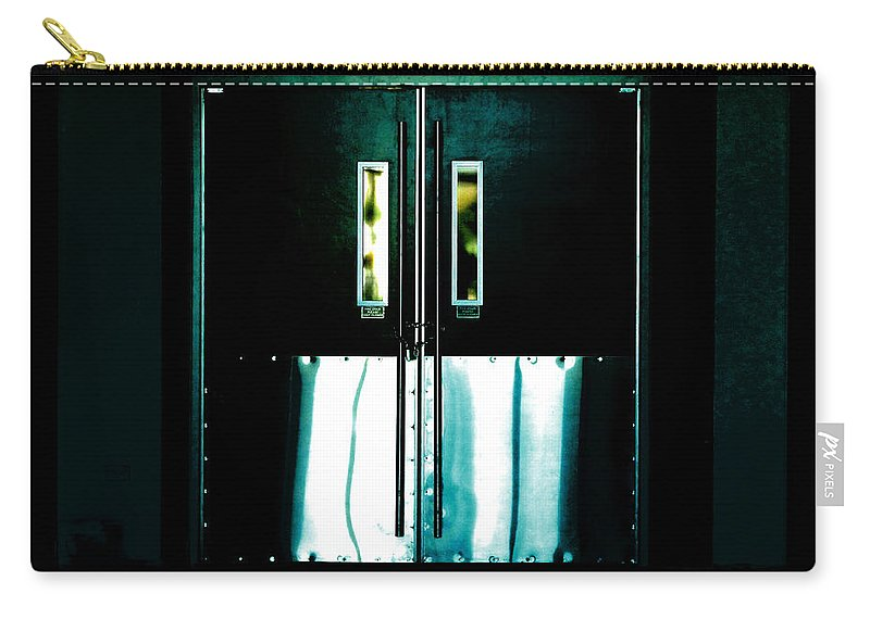 Door Carry-all Pouch featuring the photograph Chained Shut by Steve Taylor