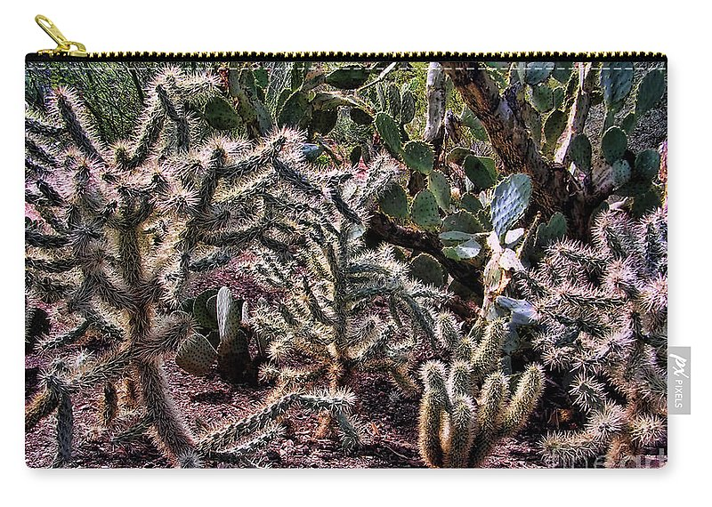 Flowering Cactus Carry-all Pouch featuring the photograph Chainfruit Cholla by Jon Burch Photography