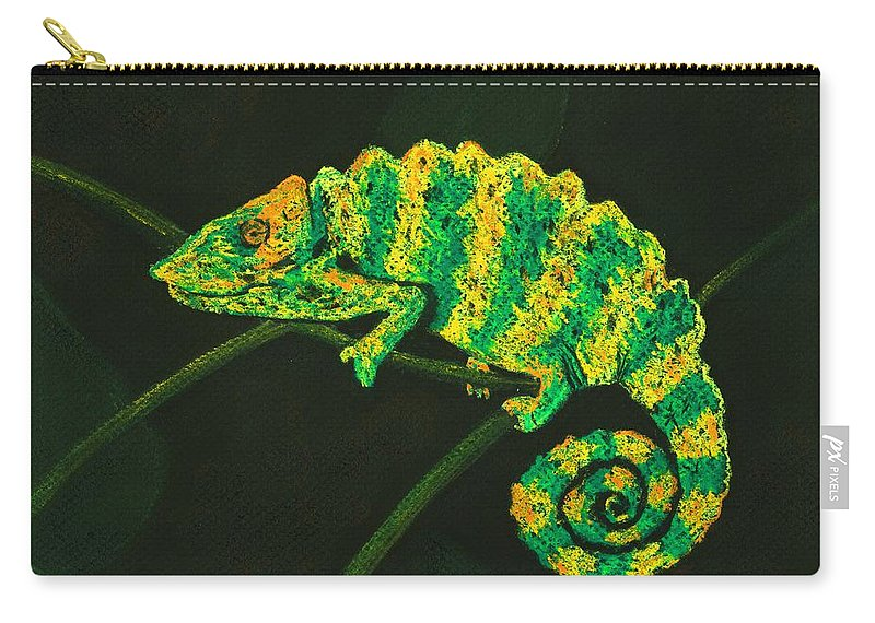 Fantasy Carry-all Pouch featuring the pastel Chameleon by Anastasiya Malakhova