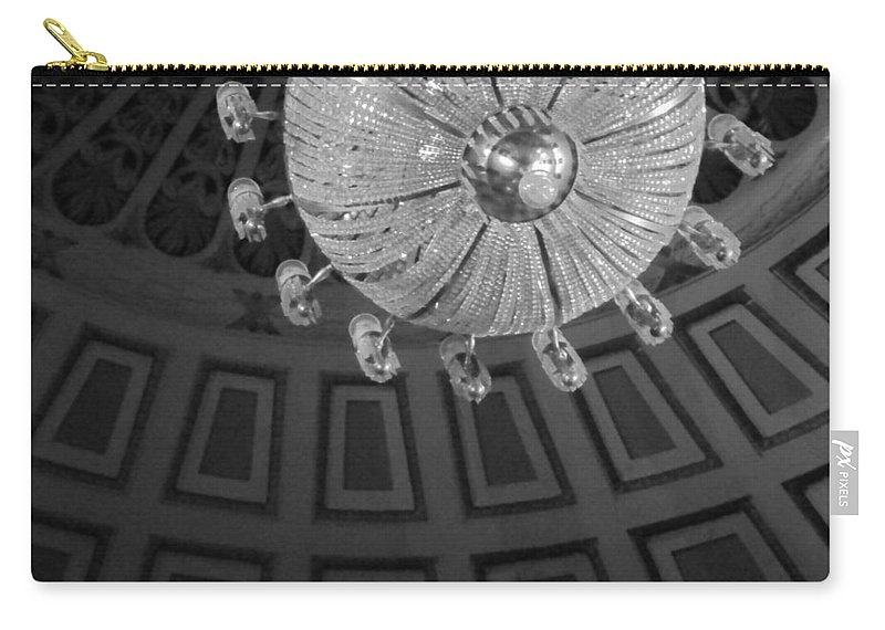 Chandelier Carry-all Pouch featuring the photograph Chandelier-black And White by Joseph Mari