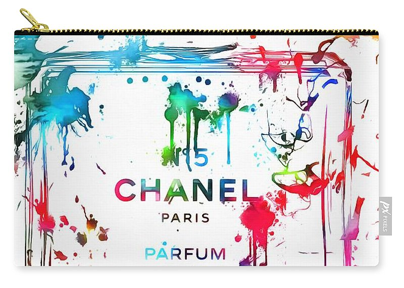 Chanel Number Five Paint Carry-all Pouch featuring the painting Chanel Number Five Paint Splatter by Dan Sproul