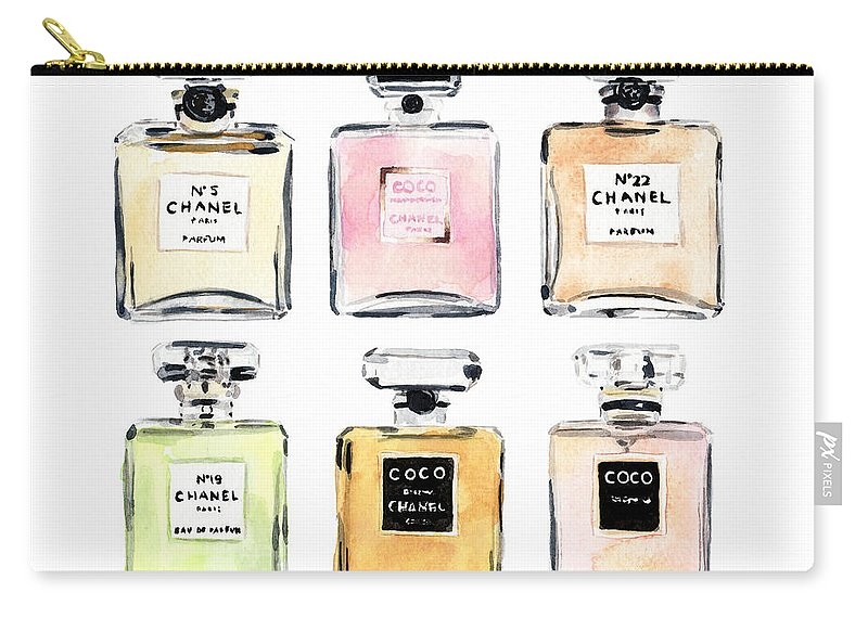 Coco Chanel Carry-all Pouch featuring the painting Chanel Perfumes by Laura Row Studio