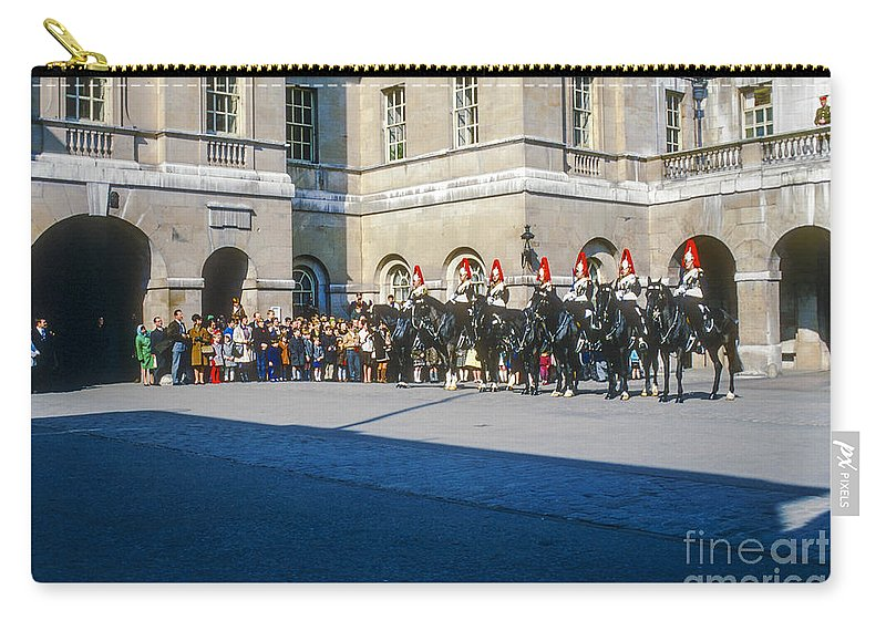 London England Great Britian United Kingdom Memorials Statue Stature Horse Guard Building Buildings Structure Structures Horses People Person Persons Creature Creatures Carry-all Pouch featuring the photograph Changing Of The Horse Guard by Bob Phillips
