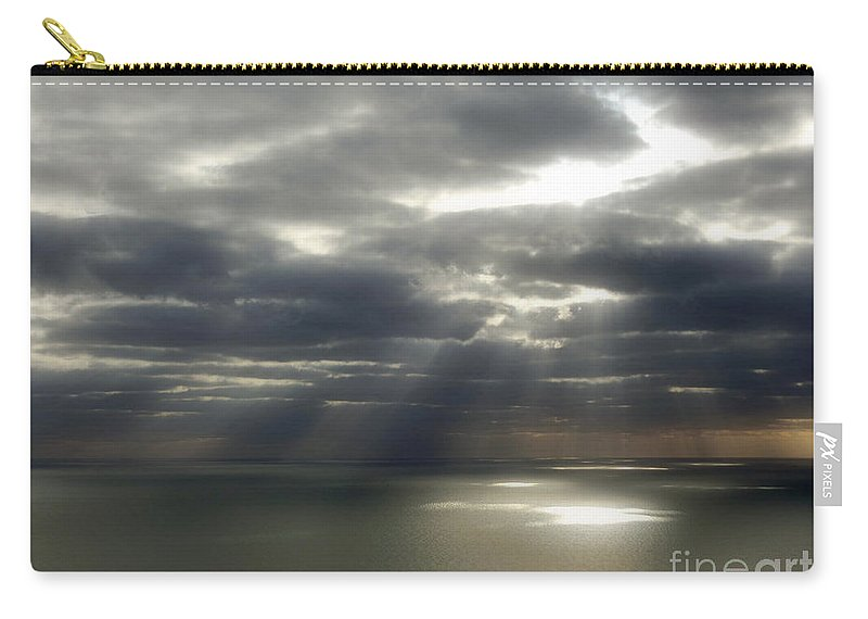 Seascape Carry-all Pouch featuring the photograph Channel Sunburst by Callan Art