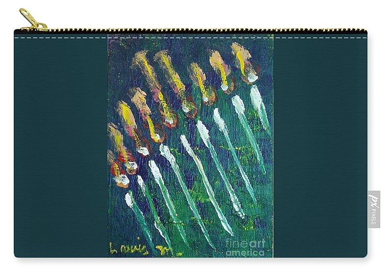 Chanukah Carry-all Pouch featuring the painting Chanukiah In The Dark by Laurie Morgan