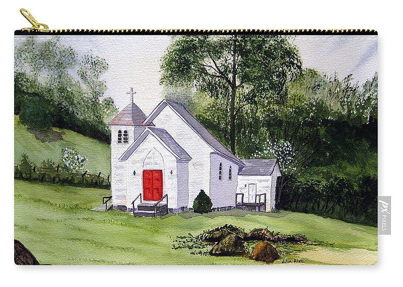 Church Carry-all Pouch featuring the painting Chapel In The Mounts by Julia RIETZ