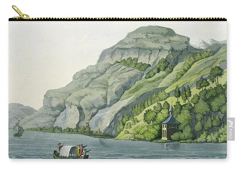 Legendary Swiss Patriot Carry-all Pouch featuring the drawing Chapel Of William Tell, From Customs by Vittorio Raineri