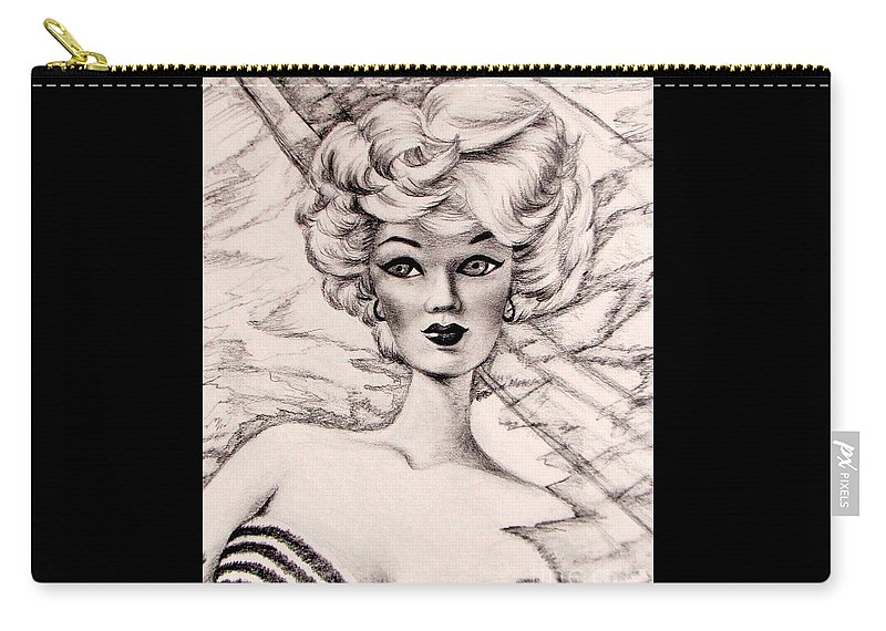 Charice Carry-all Pouch featuring the drawing Charice Doll by Georgia's Art Brush