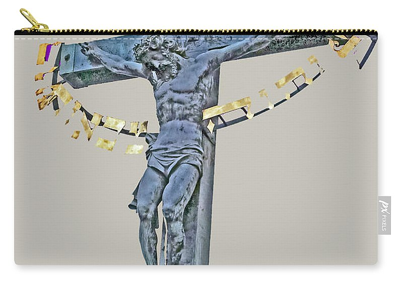 Travel Carry-all Pouch featuring the photograph Charles Bridge Crucifix by Elvis Vaughn