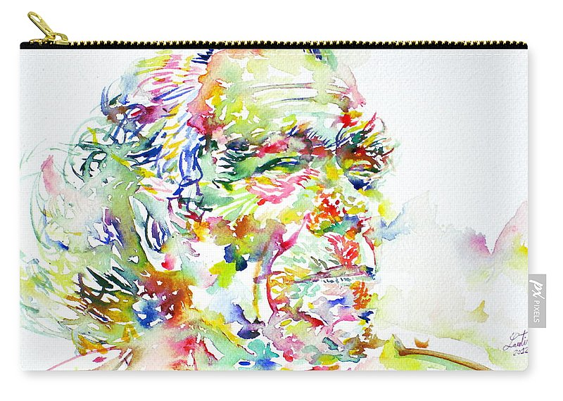 Charles Carry-all Pouch featuring the painting Charles Bukowski Portrait.1 by Fabrizio Cassetta