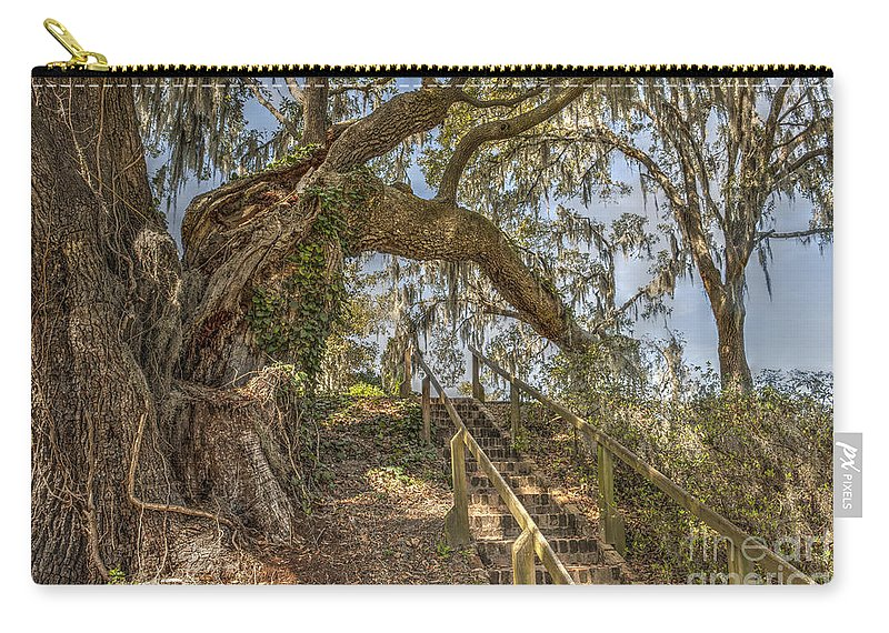 Live Oak Tree Carry-all Pouch featuring the photograph Charleston Oak Stairway by Dale Powell