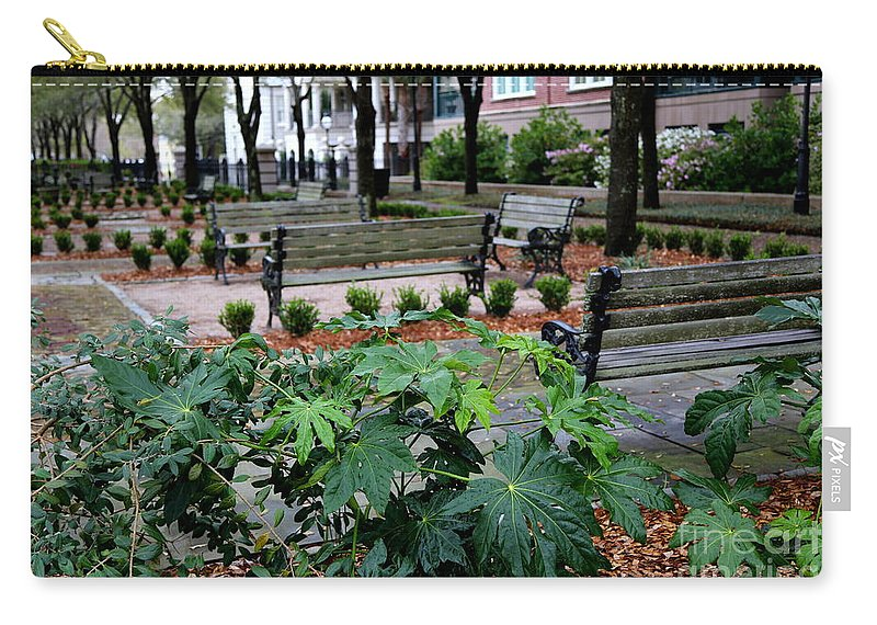 Charleston Carry-all Pouch featuring the photograph Charleston Waterfront Park Benches by Carol Groenen