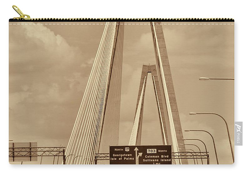 The Arthur Ravenel Jr. Bridge Carry-all Pouch featuring the photograph Charleston's Magnificent Cable Bridge In Sepia by Kathy Clark