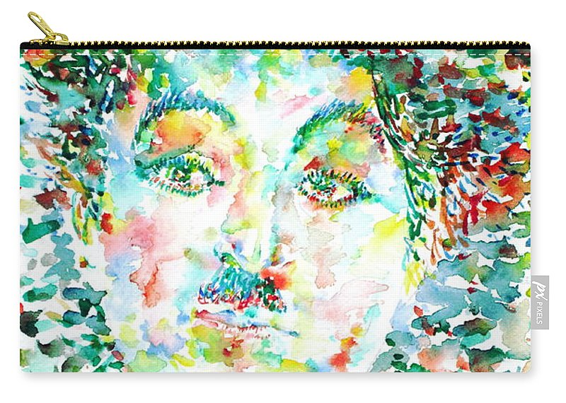 Charlie Carry-all Pouch featuring the painting Charlie Chaplin - Watercolor Portrait by Fabrizio Cassetta