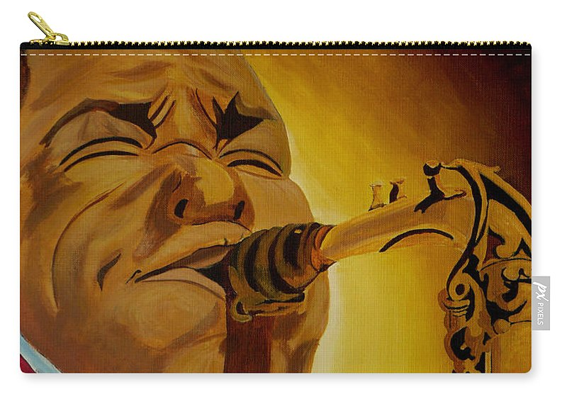 Jazz Carry-all Pouch featuring the painting Charlie Parker-legends Of Jazz by Anthony Dunphy
