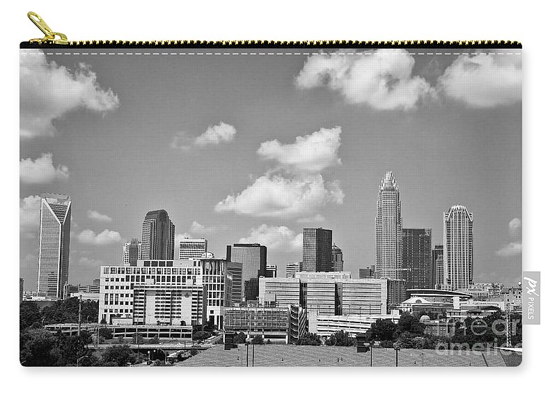 Skyline Carry-all Pouch featuring the photograph Charlotte Skyline In Black And White by Jill Lang