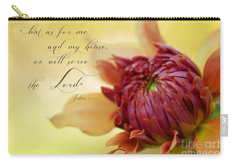 Bloom Carry-all Pouch featuring the photograph Charmed With Bible Verse by Beve Brown-Clark Photography