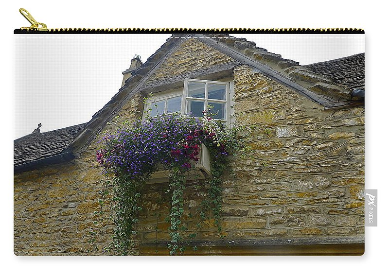 Window Carry-all Pouch featuring the photograph Charming Window And Flowers by Denise Mazzocco