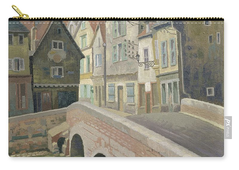 Street Scene Carry-all Pouch featuring the painting Chartres by Osmund Caine