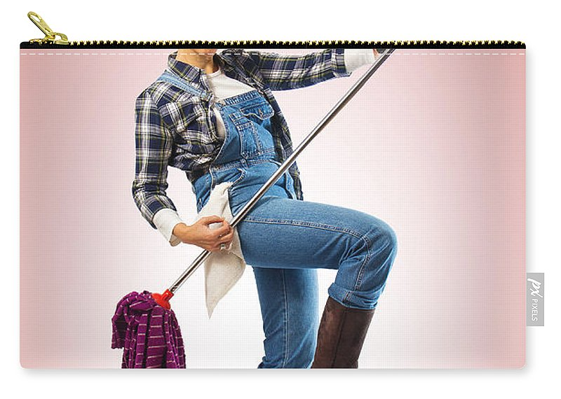 Adult Carry-all Pouch featuring the photograph Charwoman On Pink by Carlos Caetano