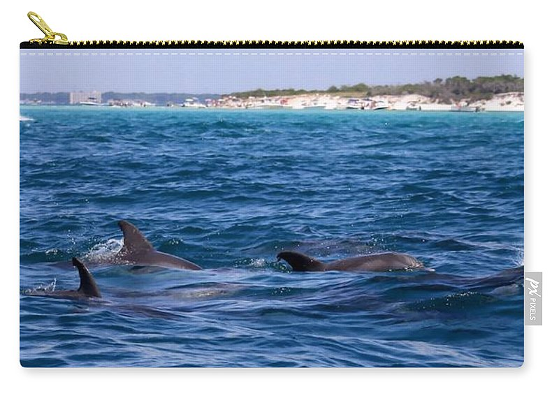 Jetty Carry-all Pouch featuring the photograph Chasing Dolphins by Debra Forand