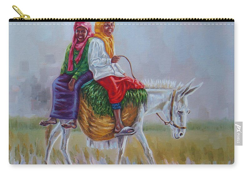Musician Carry-all Pouch featuring the painting Chat by Ahmed Bayomi