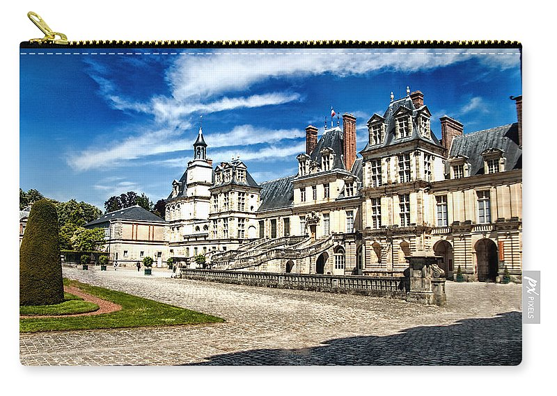 Chateaux Carry-all Pouch featuring the photograph Chateau Fontainebleau - France by Jon Berghoff