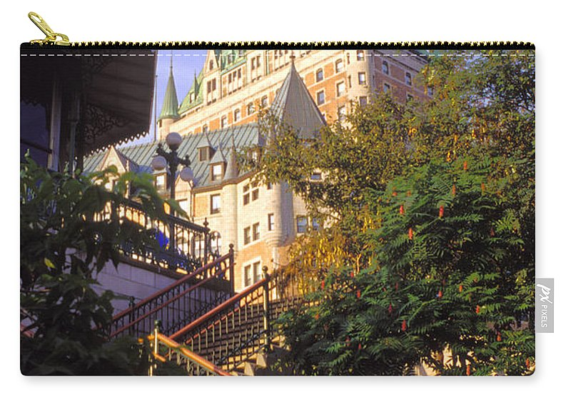 Chateau Frontenac Quebec Canada Chateaus Step Steps City Cities Cityscape Cityscapes Building Buildings Architecture Structure Structures Landmark Landmarks Landscape Landscapes Carry-all Pouch featuring the photograph Chateau Frontenac In Quebec by Bob Phillips