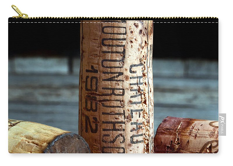 Chateau Mouton Rothschild Carry-all Pouch featuring the photograph Chateau Mouton Rothschild Cork by Jon Neidert