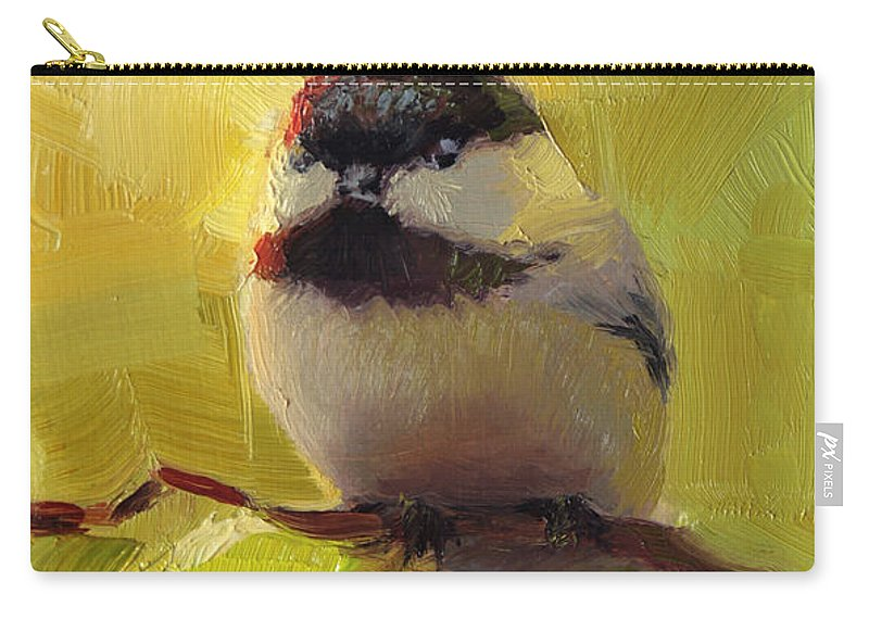 Spring Carry-all Pouch featuring the painting Chatty Chickadee - Cheeky Bird by Karen Whitworth