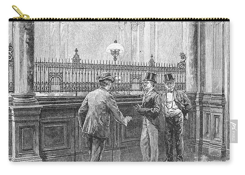 1890 Carry-all Pouch featuring the painting Check Forger, 1890 by Granger