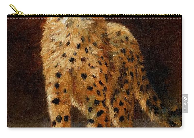 Cheetah Carry-all Pouch featuring the painting Cheetah Cub by David Stribbling