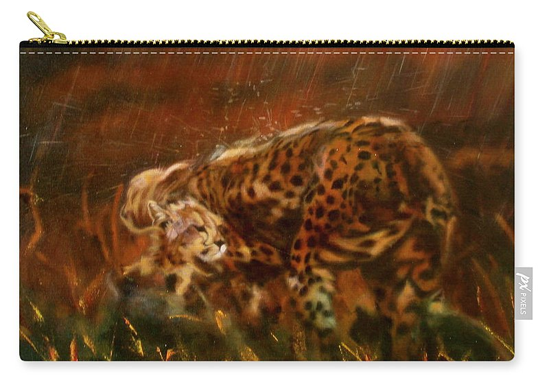Rain;water;cats;africa;wildlife;animals;mother;shelter;brush;bush Carry-all Pouch featuring the painting Cheetah Family After The Rains by Sean Connolly