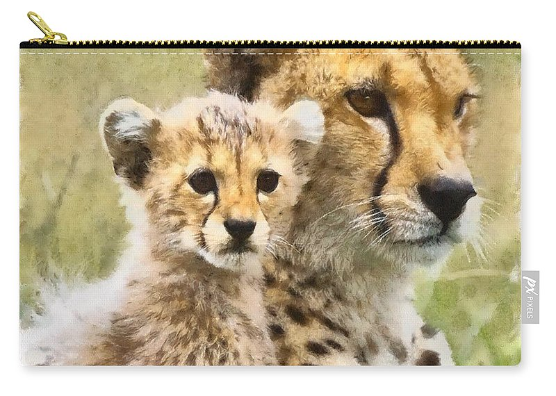 Cat Carry-all Pouch featuring the photograph Cheetah Two by Ingrid Smith-Johnsen