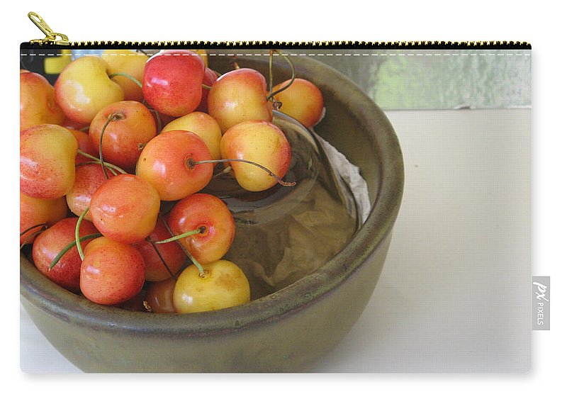Cherries Carry-all Pouch featuring the photograph Cherries And Glass Filler by Rich Franco