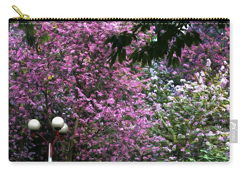 Cherry Blossom Carry-all Pouch featuring the painting Cherry Blossom 3 by Jeelan Clark